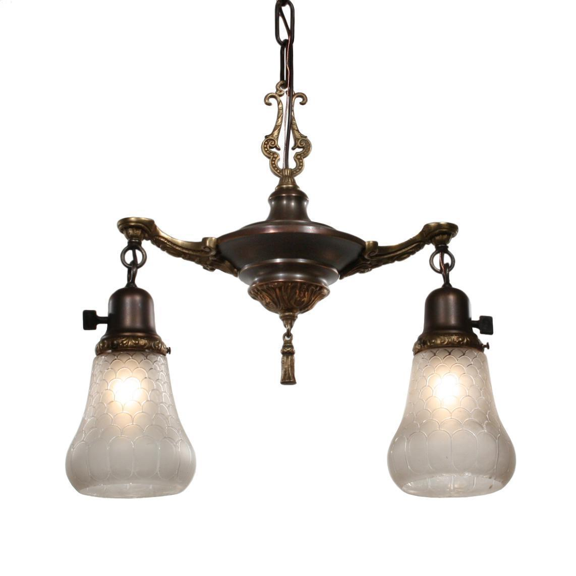 Charming Antique Two Light Chandelier with Glass Shades
