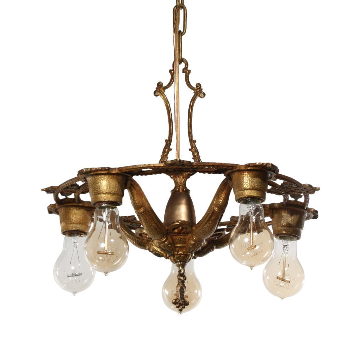 Beautiful Antique Chandelier with Original Polychrome Finish, Early 1900s