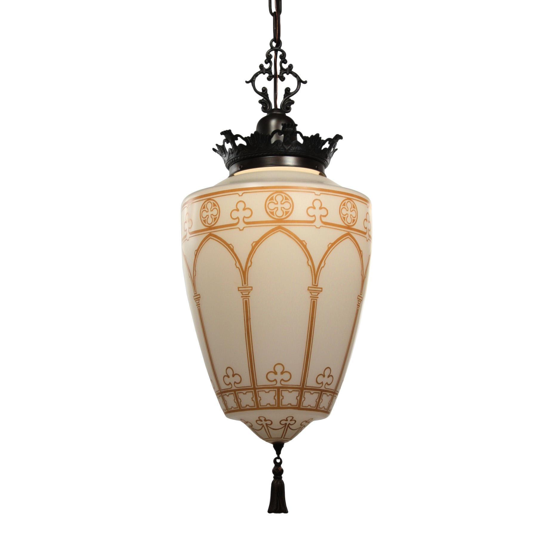 Magnificent Antique Gothic Revival Pendant Light, Early 1900s