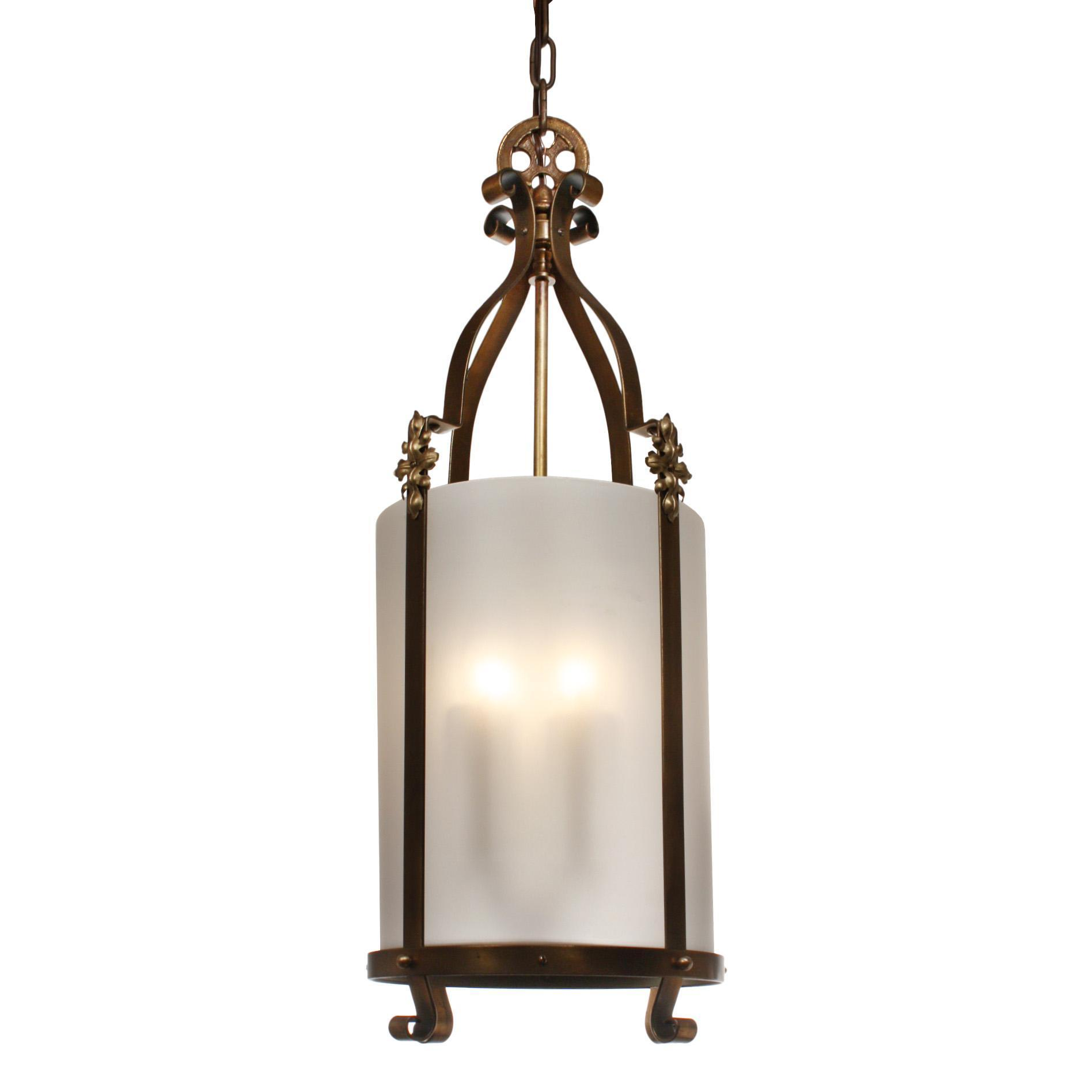 Substantial Antique Lantern with Frosted Shade, Early 1900's