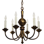 Charming Antique Colonial Revival Brass Chandelier, Early 1900s