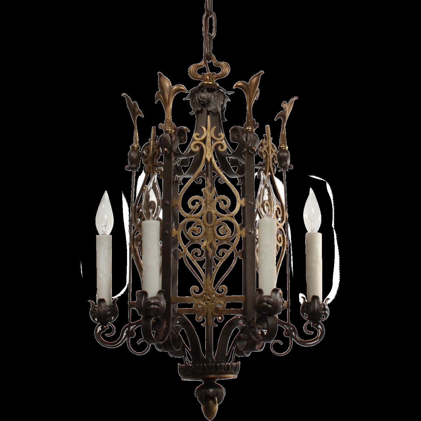 Fabulous Antique Tudor Two Tone Chandelier With Fleur De Lis From Preservatio