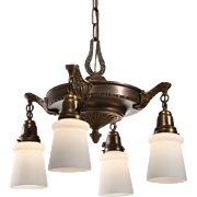 Delightful Antique Neoclassical Four-Light Chandelier with Shades