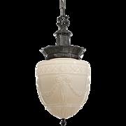 Fabulous Antique Neoclassical Pendant Light with Original Shade