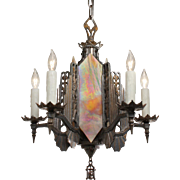 Stellar Antique Art Deco Two-Tone Chandelier, Iridescent Glass