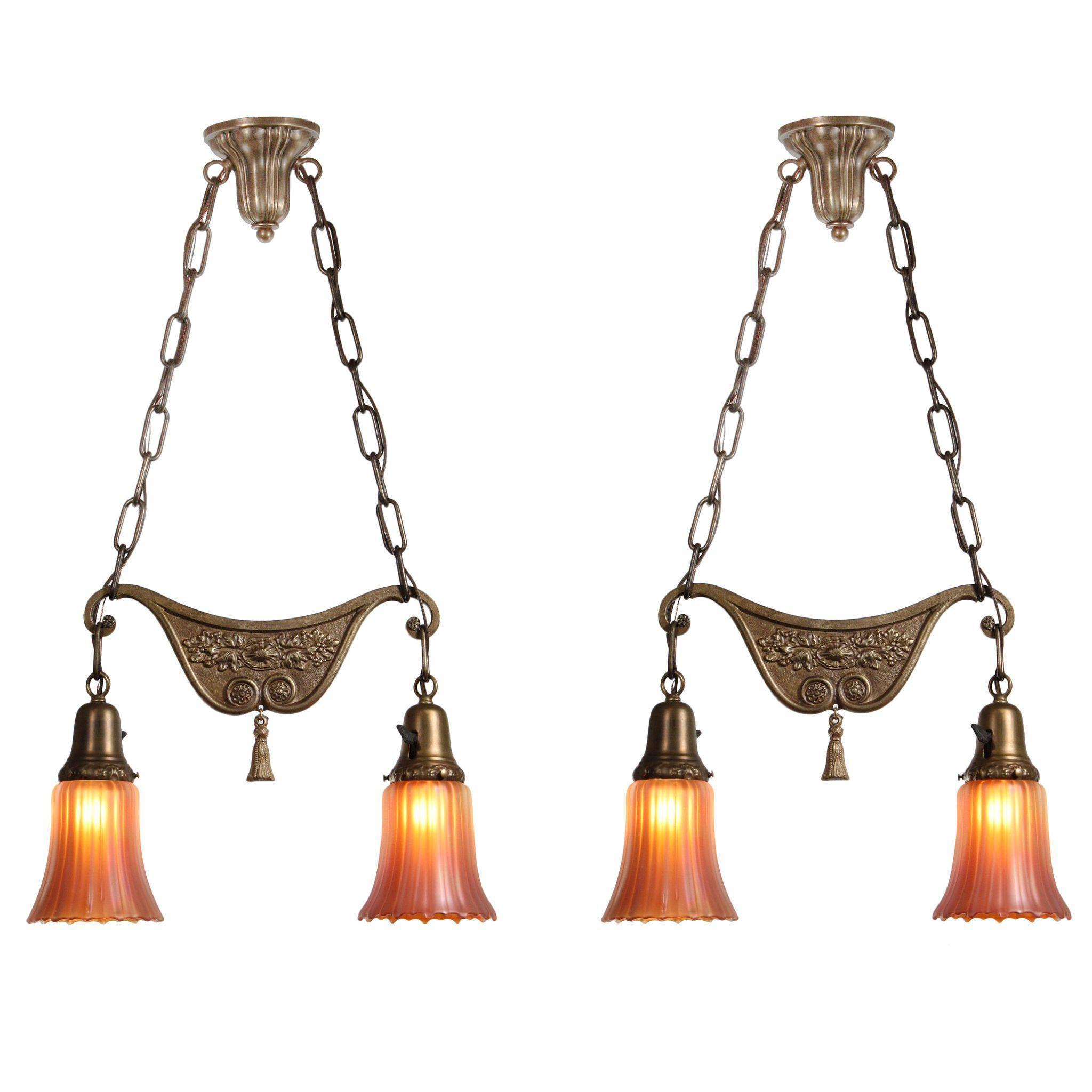 Fabulous Antique Neoclassical Chandeliers with Carnival Shades