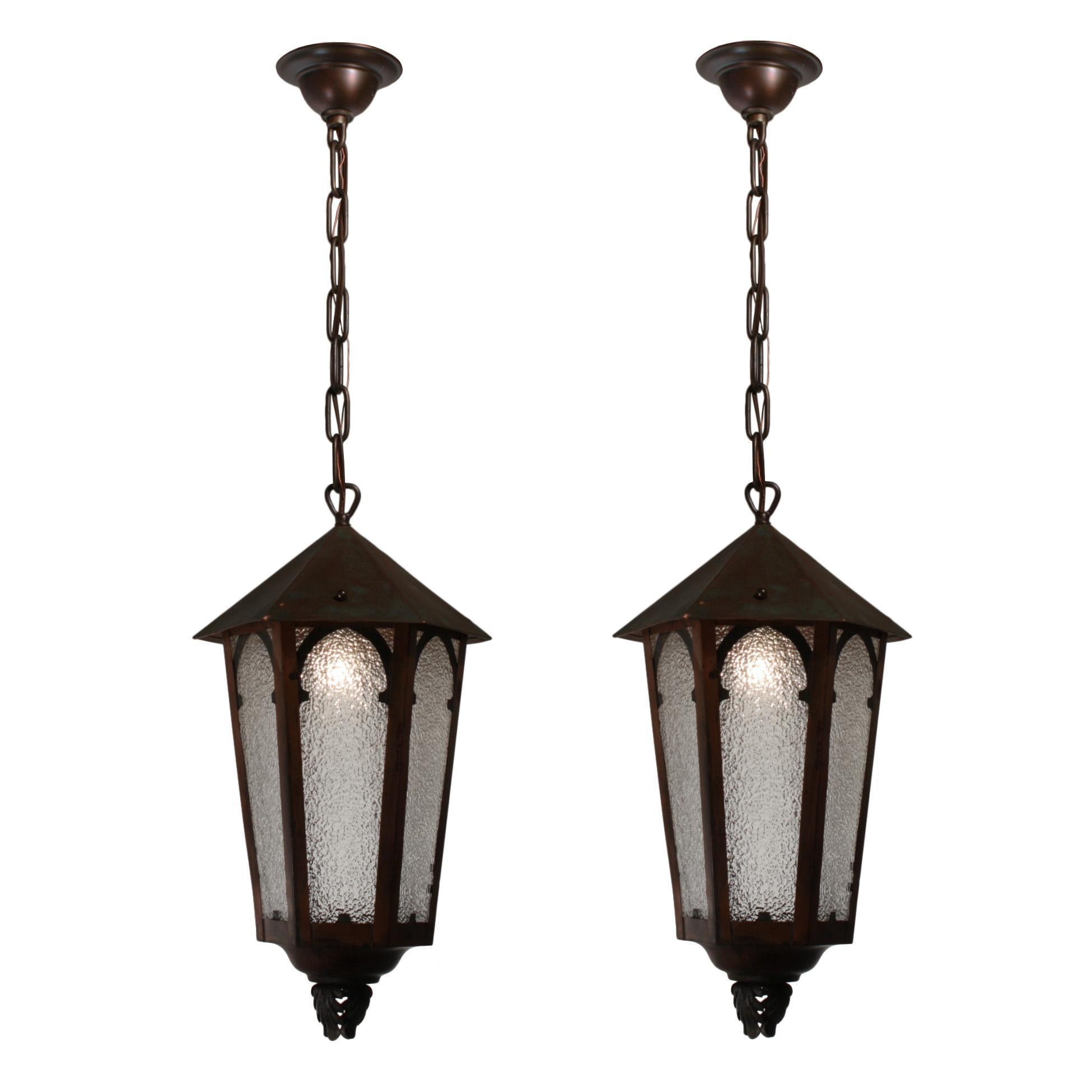 Charming Antique Gothic Revival Copper Lanterns, c.1910