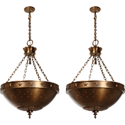 Substantial Antique Inverted Dome Chandeliers with Stars, Cincinnati Theatre