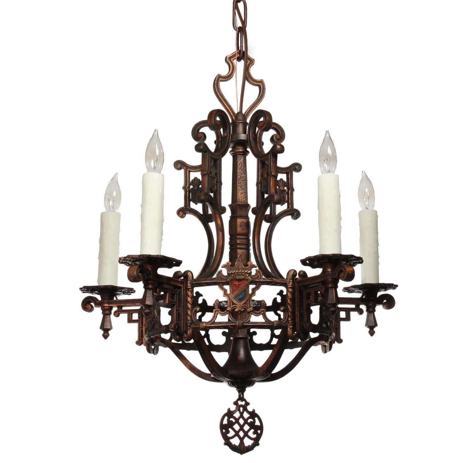 Fantastic Antique Cast Bronze Spanish Revival Chandelier with Shields