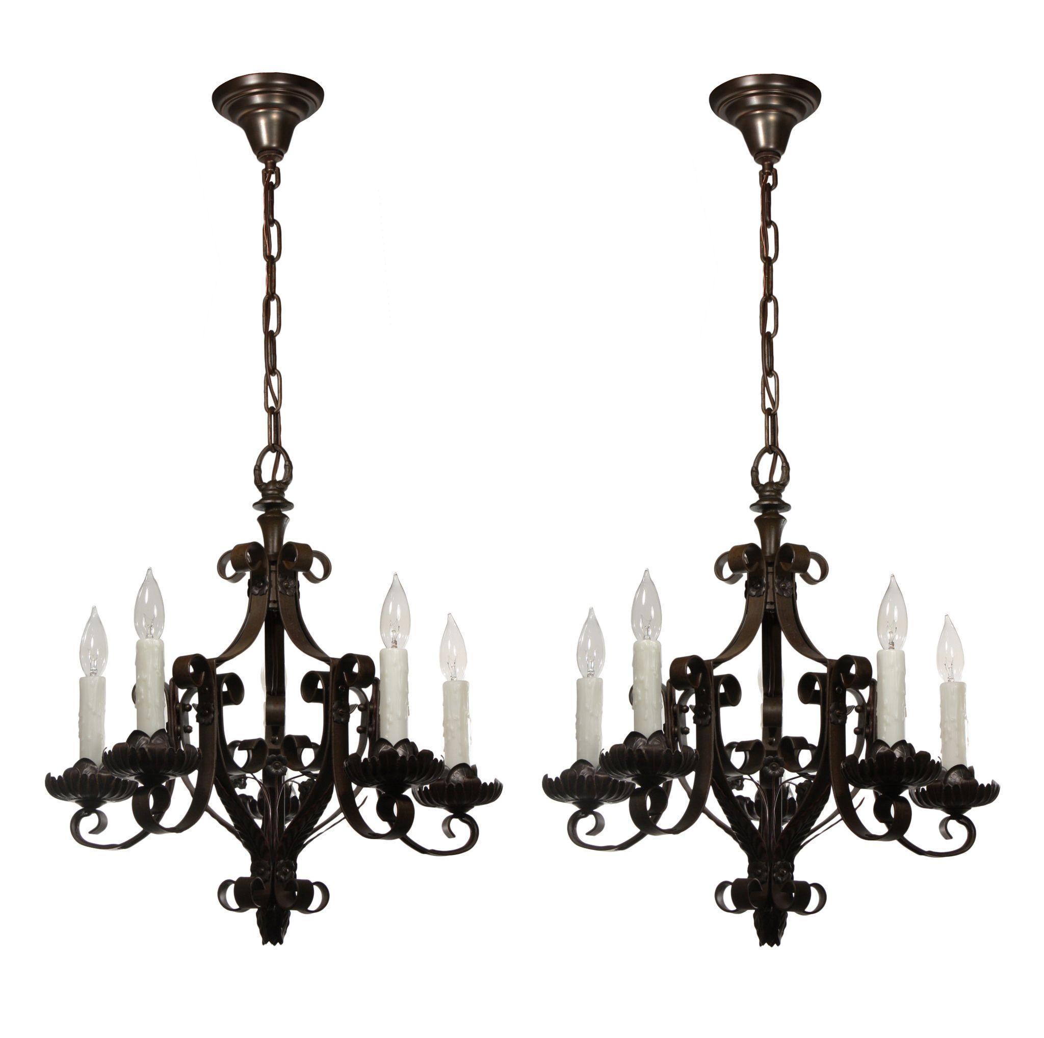 Marvelous Antique Iron Chandeliers