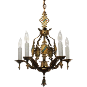 Striking Antique Spanish Revival Chandelier with Shields, Original Polychrome
