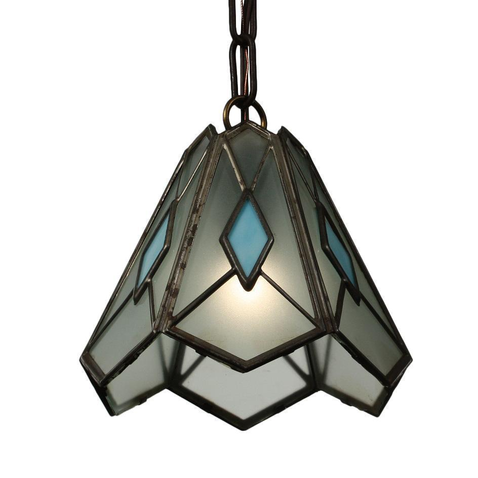 Vintage Pendant Light with Stained Glass, c. 1930