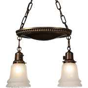 Charming Antique Two-Light Brass Chandelier with Original Shades, Early 1900's