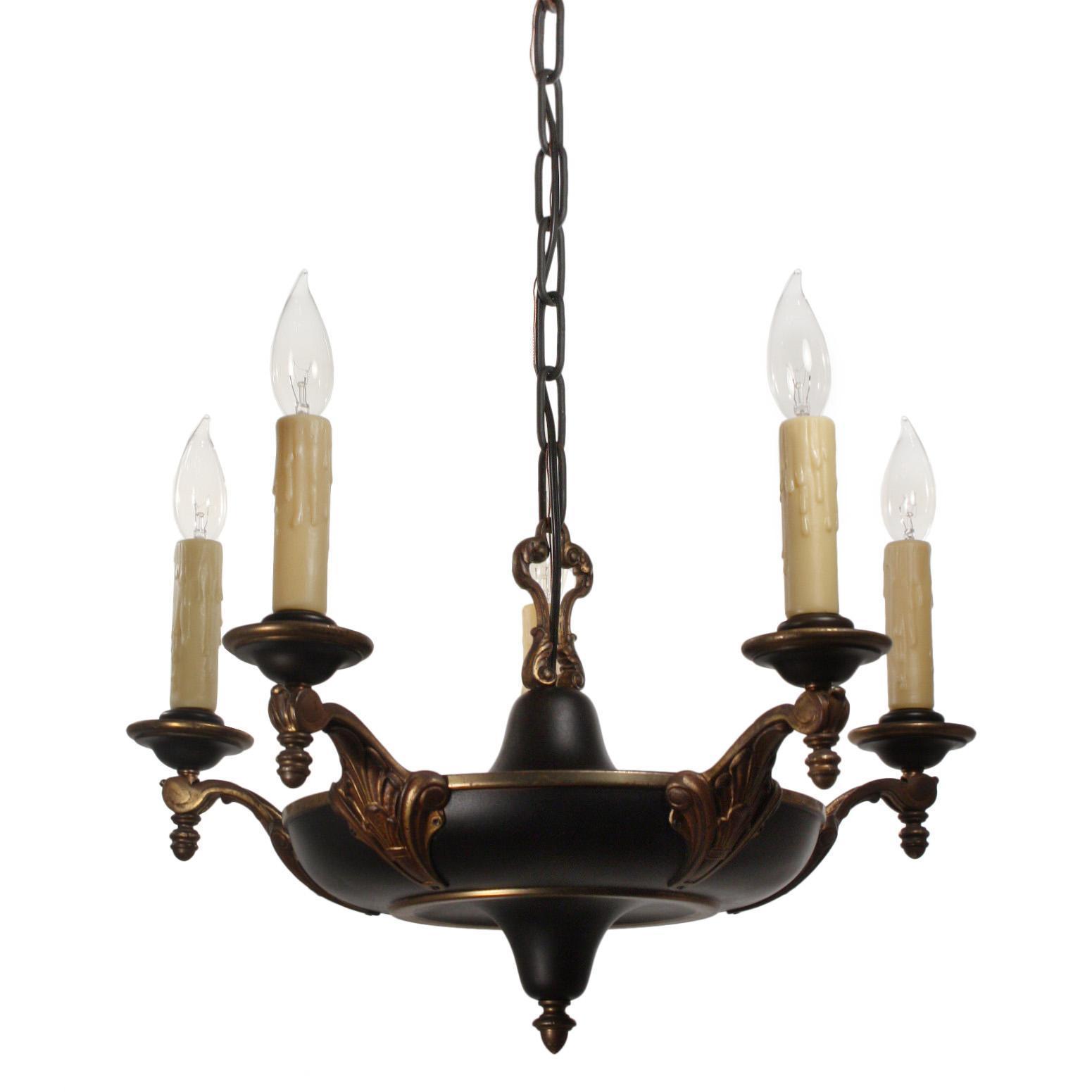 Antique Neoclassical Two-Tone Chandelier, c. 1910
