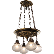 Antique Gothic Revival Chandelier with Acid-Etched Shades, c.1910