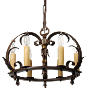 Antique Tudor Wrought Iron Chandelier