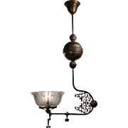 Antique Brass Gas Pendant with Original Shade, Late 19th Century
