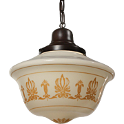 Antique Neoclassical Pendant Light with Original Shade