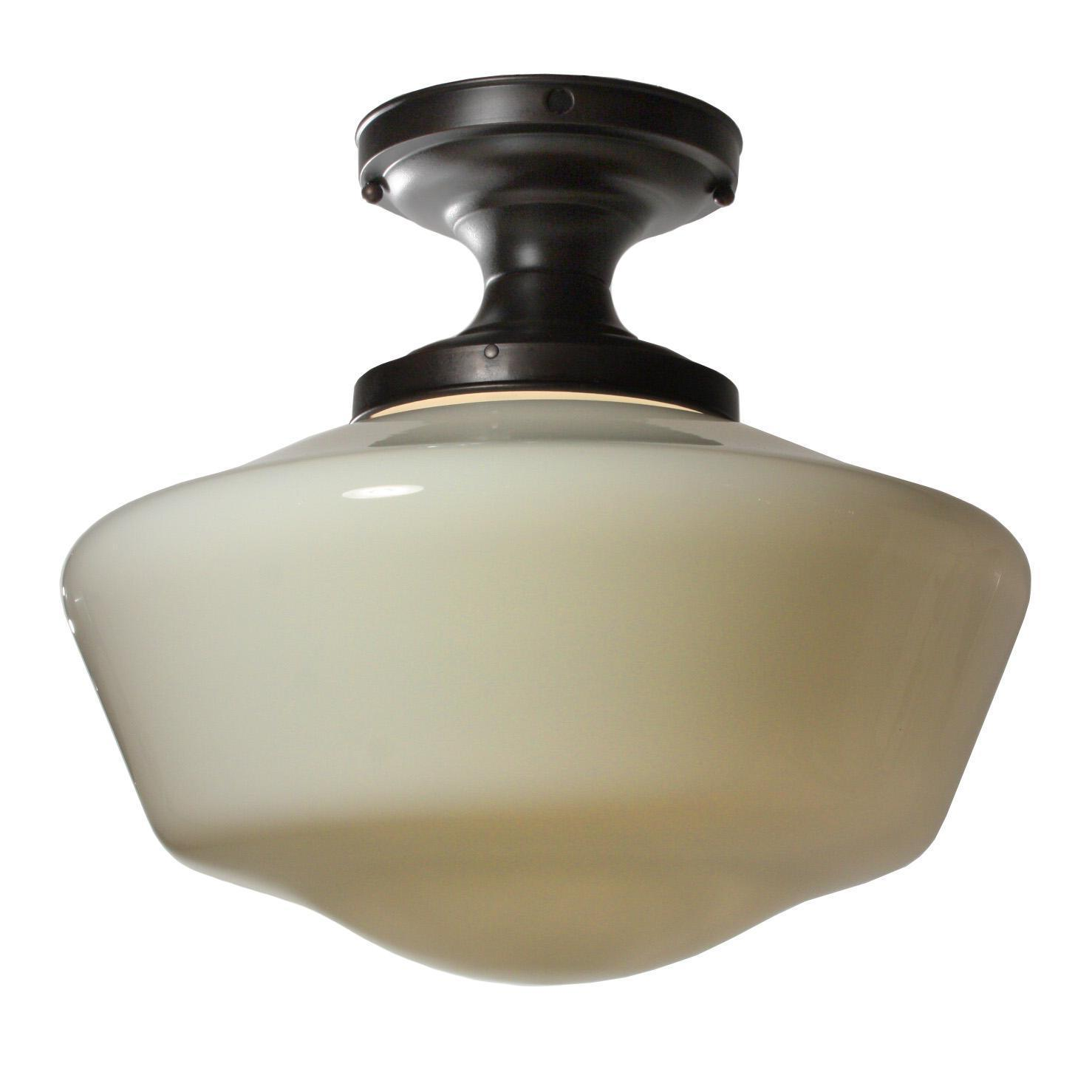 Antique Flush Mount Schoolhouse Light with Glass Shade