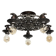 Antique Art Deco Semi-Flush Mount Chandelier