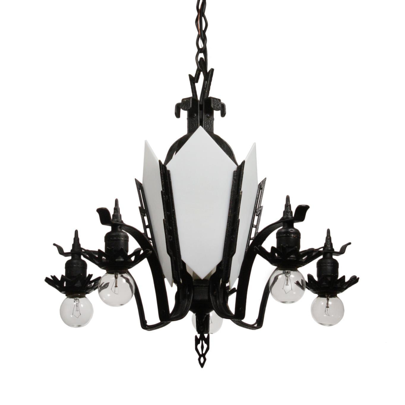 Antique Art Deco Cast Iron Chandelier, c. 1930's
