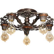 Antique Semi-Flush Mount Two-Tone Chandelier, c. 1920