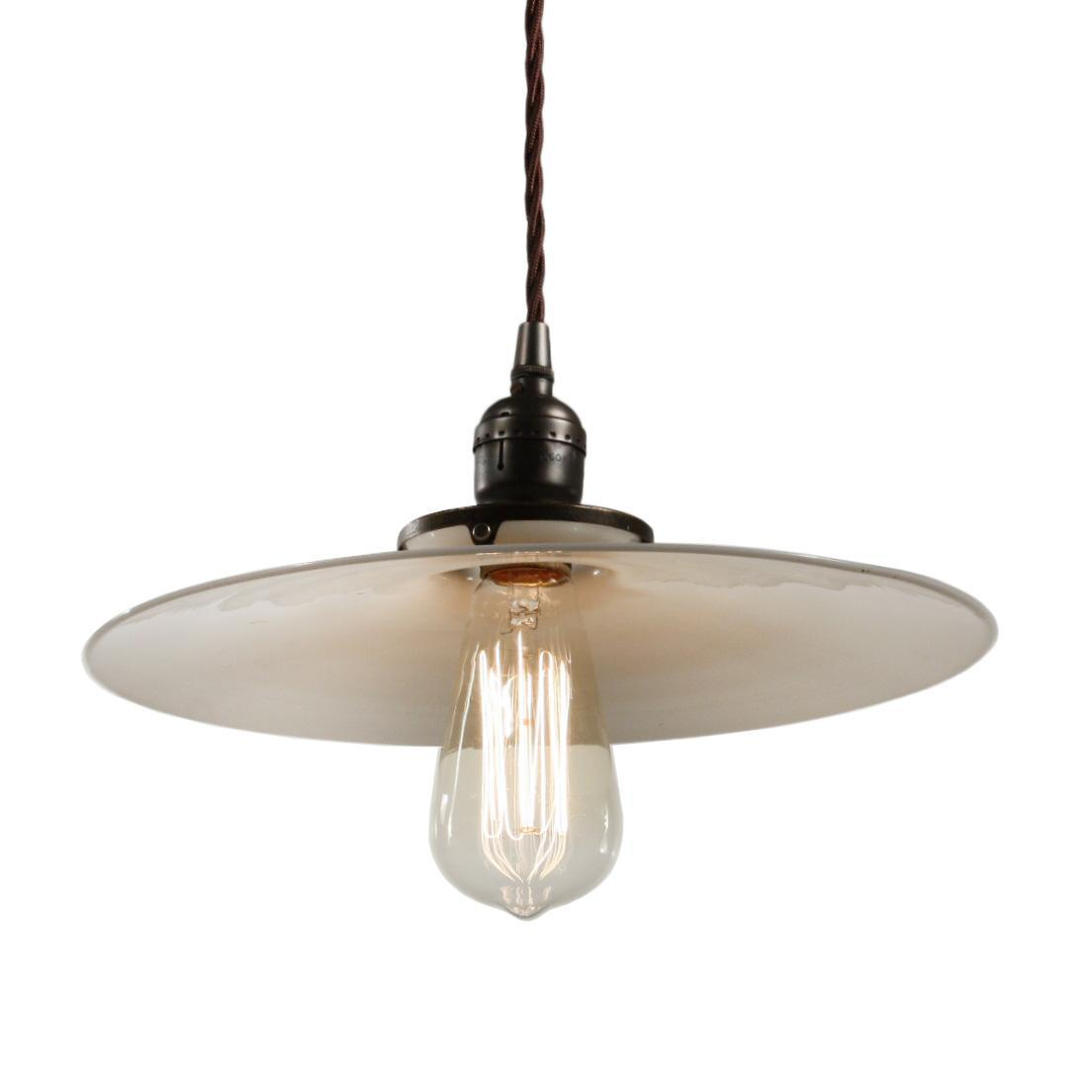 Antique Industrial Pendant Light with Milk Glass Shade, c. 1910