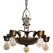 Antique Art Deco Two-Tone Chandelier by Lincoln, c.1930