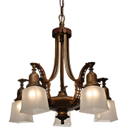 Antique Neoclassical Chandelier with Original Polychrome, Early 1900s