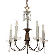 Antique Neoclassical Brass and Glass Chandelier with Prisms, c.1910