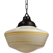 Antique Schoolhouse Light with Striped Glass Shade, Early 1900's