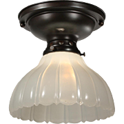 Antique Flush-Mount Light Fixture with Glass Shade, Early 1900's