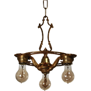 Antique Chandelier with Exposed Bulbs, Original Polychrome c. 1910