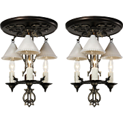Antique Semi-Flush Mount Figural Chandeliers with Glass Snuffer Shades