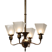 Antique Colonial Revival Chandelier by Beardslee, c.1890