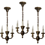 Antique Neoclassical Bronze Chandeliers, Early 1900s