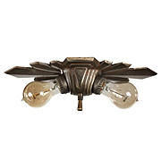 Antique Art Deco Exposed Bulb Flush Mount Fixture, c.1920