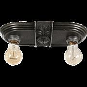Antique Art Deco Exposed Bulb Flush Mount Fixture, H.P Inc.