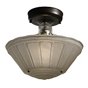 Antique Flush Mount with Original Glass Shade, Early 1900s