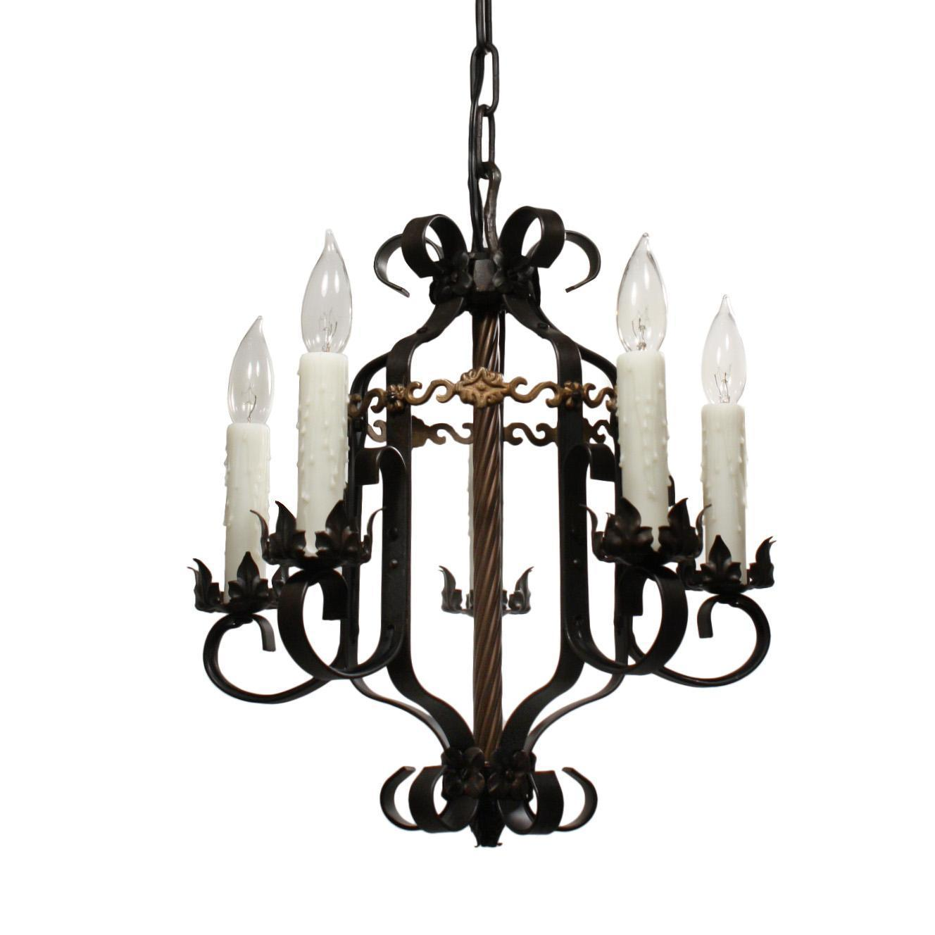 Antique Two-Tone Wrought Iron Chandelier, c.1920