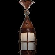 Antique Arts and Crafts Copper Lantern, c.1910