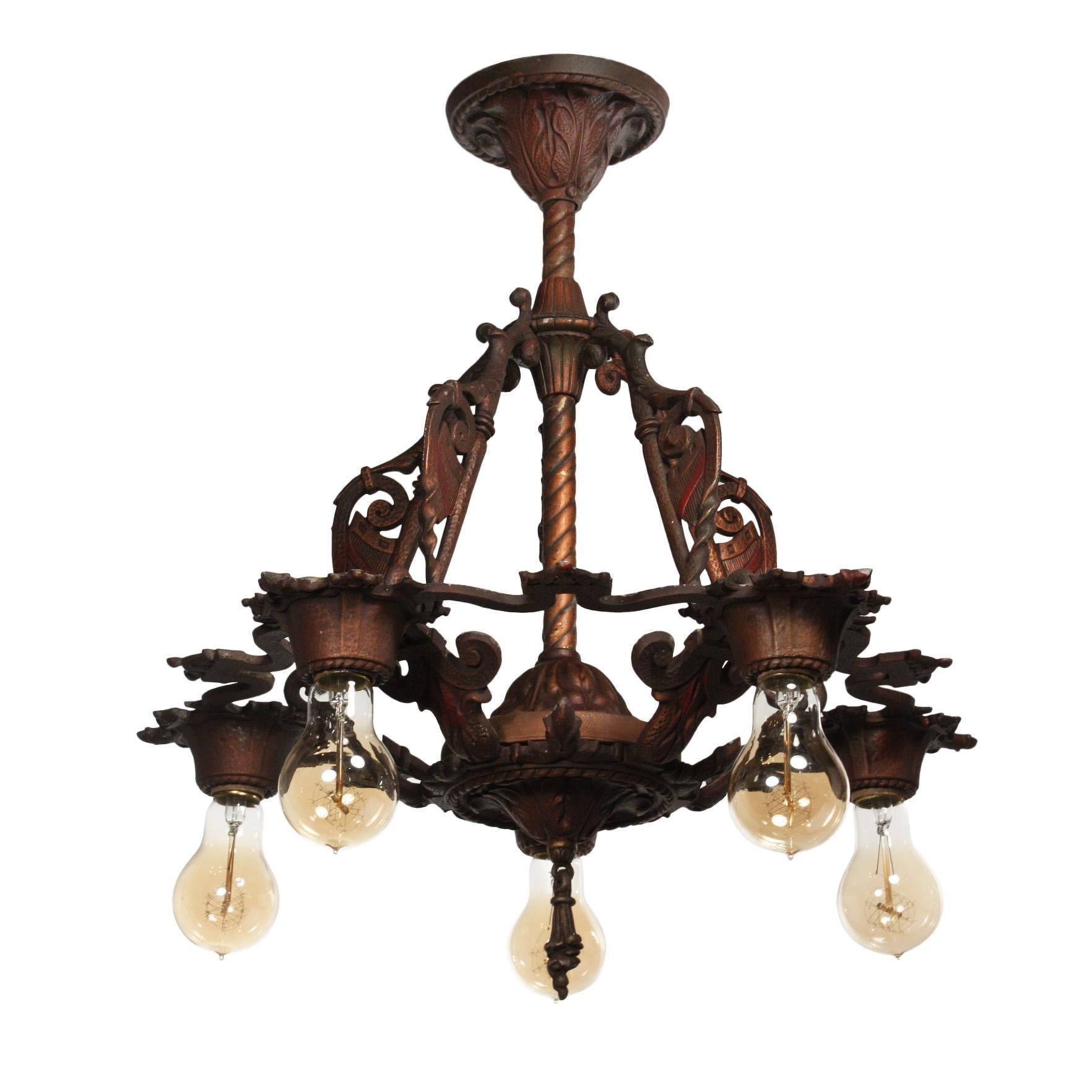 Antique Spanish Revival Chandelier with Shields