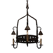 Antique Wrought Iron Chandelier from France