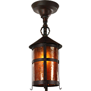 Antique Arts and Crafts Copper Lantern with Mica, c.1910