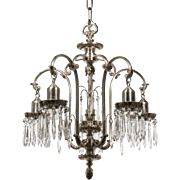 Antique Silver Plated Chandelier with Prisms, Early 1900s