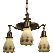 Antique Neoclassical Chandelier with Original Shades