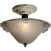 Antique Flush Mount with Porcelain Canopy, Bows