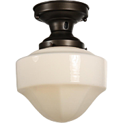 Antique Flush Mount Schoolhouse Light, c.1930