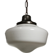 Antique Schoolhouse Pendant Lights, c.1930