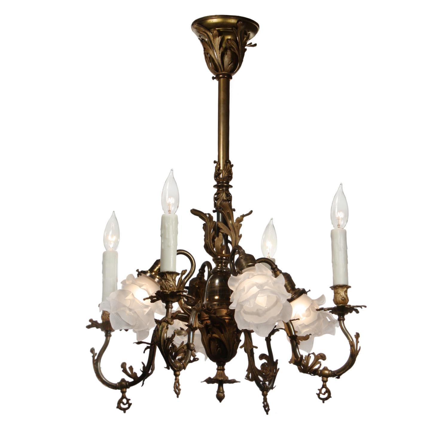 Antique Louis 16th Gas & Electric Chandelier, Late 19th Century